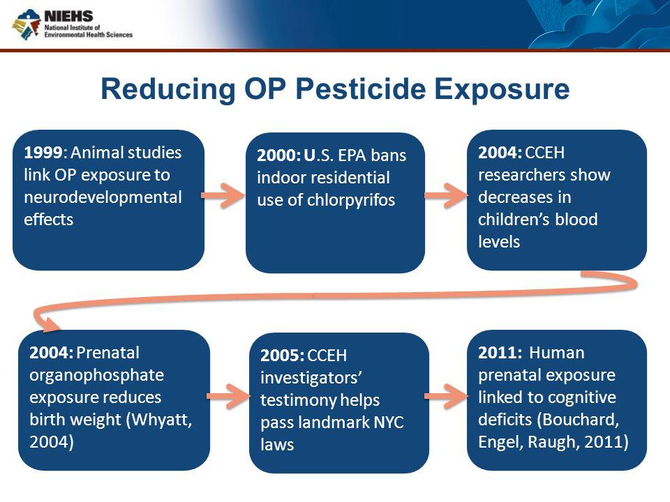 Reducing OP Pesticide Exposure 1999: Animal studies link OP exposure to neurodevelopmental effects 2000: U.S. EPA bans indoor residential use of chlor