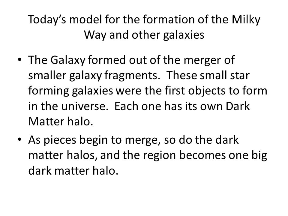 Today's model for the formation of the Milky Way and other galaxies The Galaxy formed out of the merger of smaller galaxy fragments.