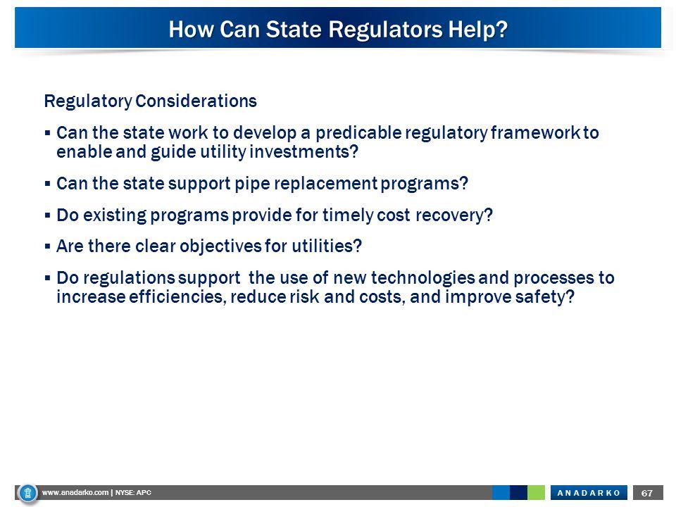 ANADARKO www.anadarko.com NYSE: APC 67 www.anadarko.com | NYSE: APC How Can State Regulators Help? Regulatory Considerations  Can the state work to d