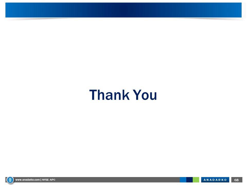 ANADARKO www.anadarko.com NYSE: APC 68 www.anadarko.com | NYSE: APC Thank You
