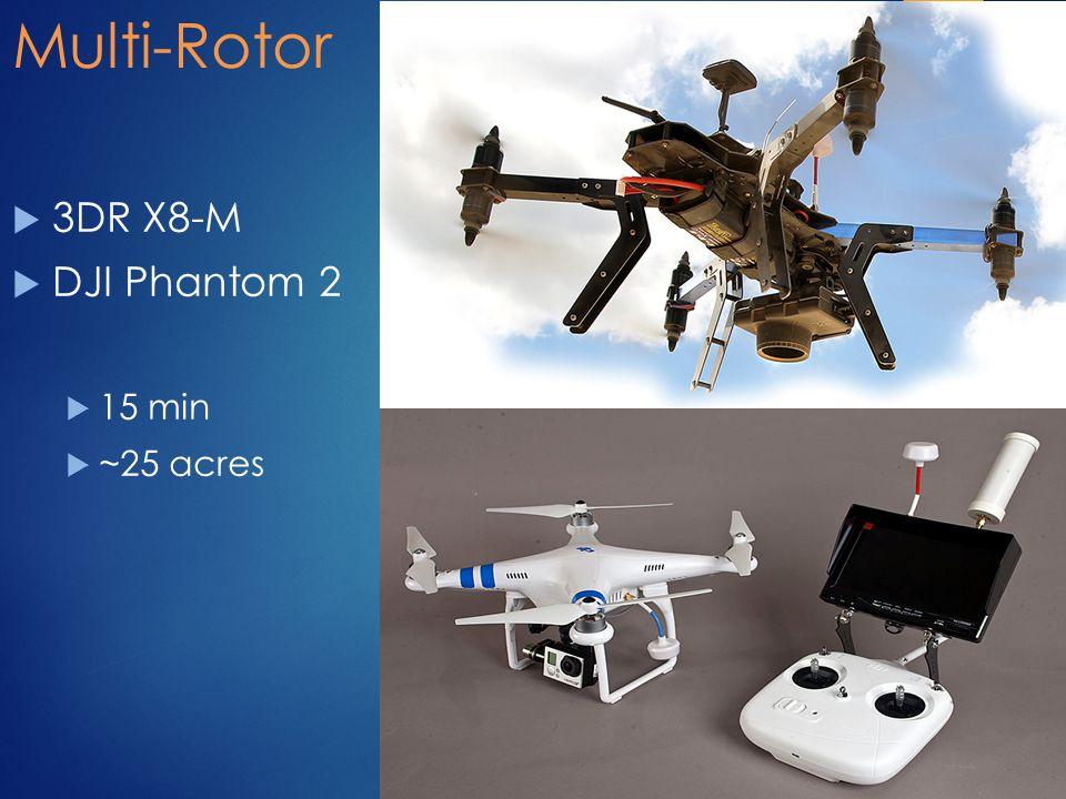 Multi-Rotor  3DR X8-M  DJI Phantom 2  15 min  ~25 acres 18
