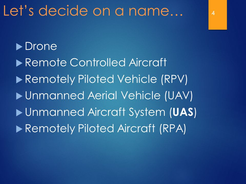 Let's decide on a name…  Drone  Remote Controlled Aircraft  Remotely Piloted Vehicle (RPV)  Unmanned Aerial Vehicle (UAV)  Unmanned Aircraft Syst
