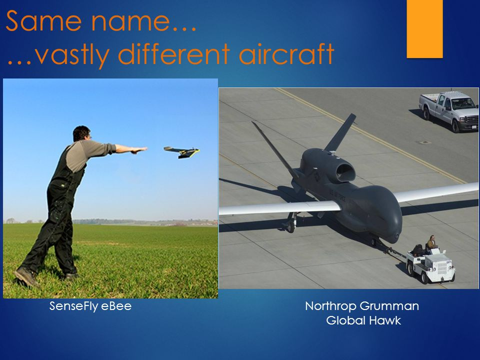 Same name… …vastly different aircraft SenseFly eBeeNorthrop Grumman Global Hawk