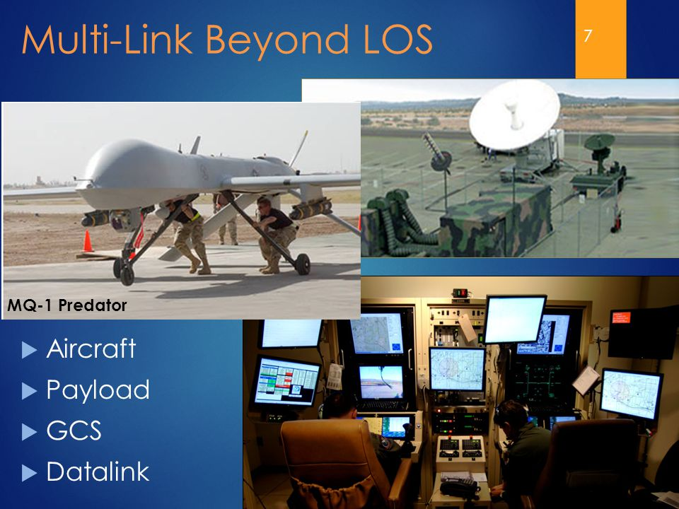7 Multi-Link Beyond LOS MQ-1 Predator  Aircraft  Payload  GCS  Datalink