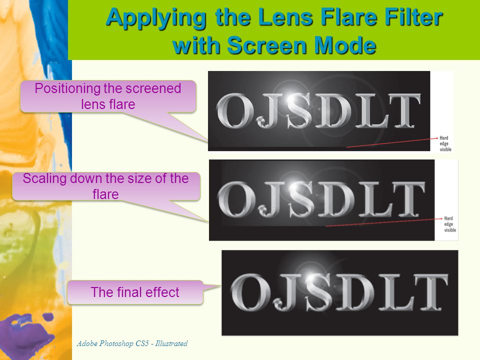 Applying the Lens Flare Filter with Screen Mode Adobe Photoshop CS5 - Illustrated The final effect Scaling down the size of the flare Positioning the