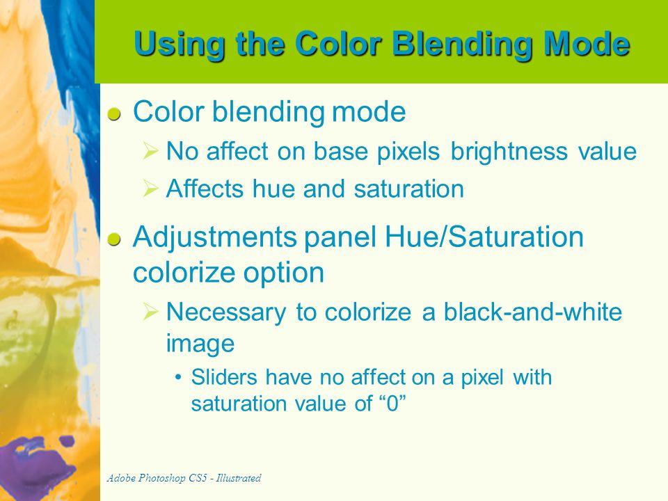 Using the Color Blending Mode Color blending mode   No affect on base pixels brightness value   Affects hue and saturation Adjustments panel Hue/S