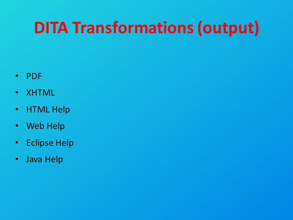 DITA Transformations (output) PDF XHTML HTML Help Web Help Eclipse Help Java Help