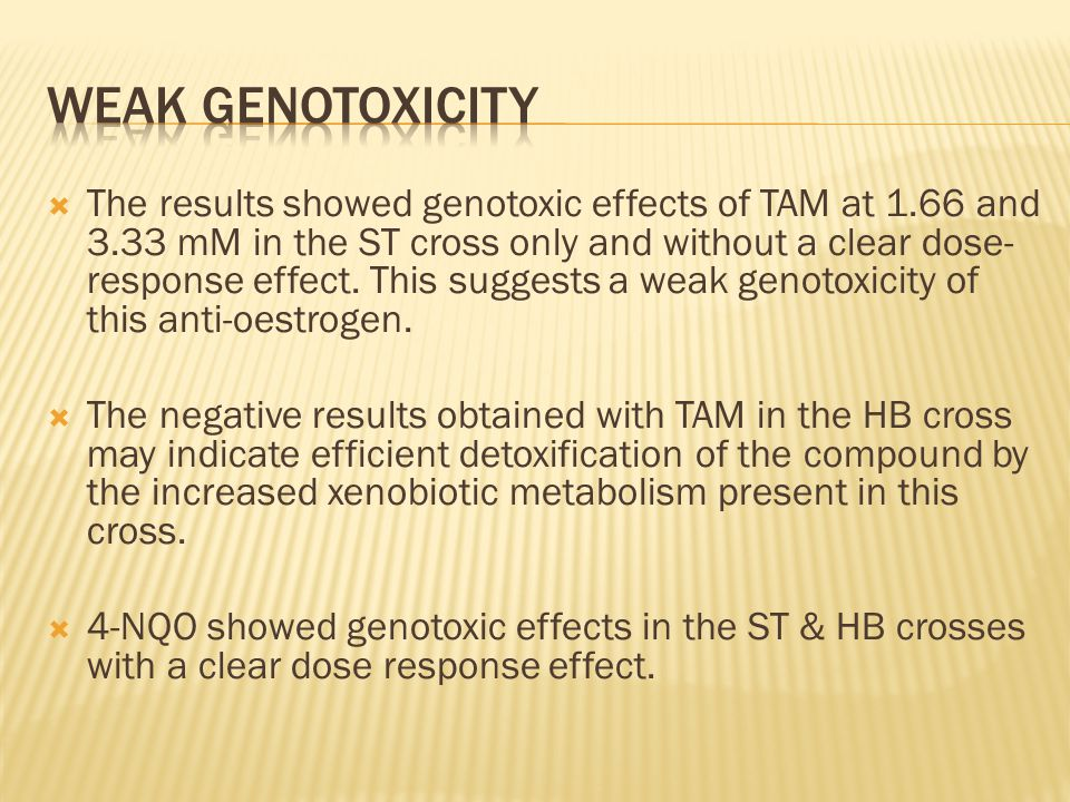  The results showed genotoxic effects of TAM at 1.66 and 3.33 mM in the ST cross only and without a clear dose- response effect.