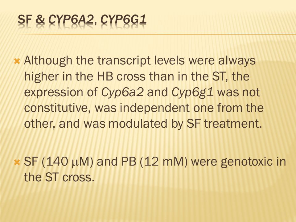 Although the transcript levels were always higher in the HB cross than in the ST, the expression of Cyp6a2 and Cyp6g1 was not constitutive, was independent one from the other, and was modulated by SF treatment.