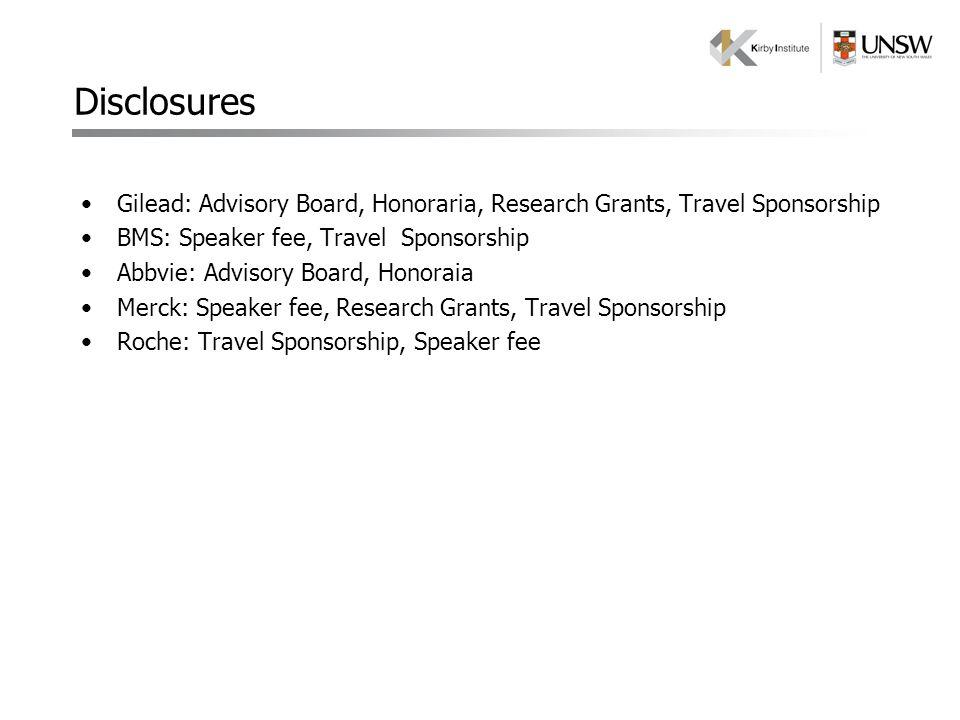 Gilead: Advisory Board, Honoraria, Research Grants, Travel Sponsorship BMS: Speaker fee, Travel Sponsorship Abbvie: Advisory Board, Honoraia Merck: Sp