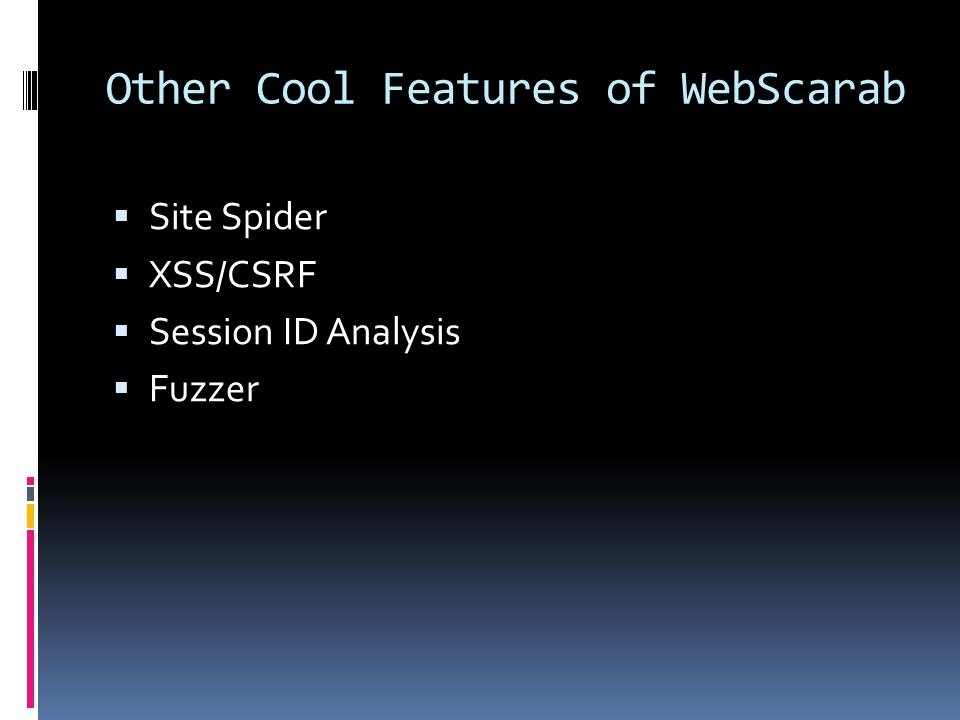Other Cool Features of WebScarab  Site Spider  XSS/CSRF  Session ID Analysis  Fuzzer