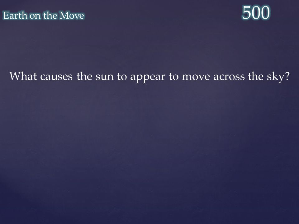 What causes the sun to appear to move across the sky?