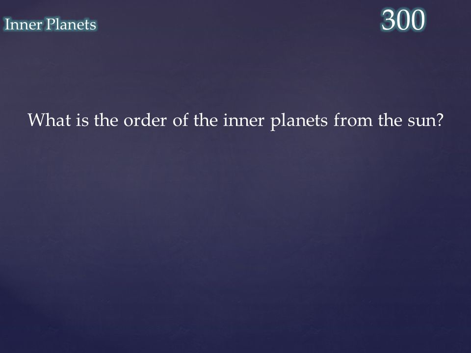 What is the order of the inner planets from the sun?
