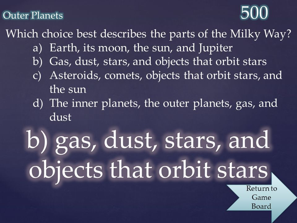 Which choice best describes the parts of the Milky Way.
