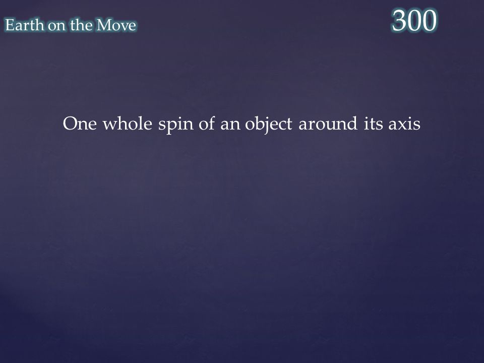 One whole spin of an object around its axis