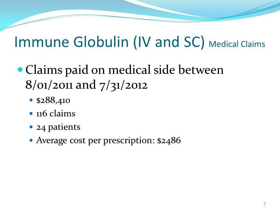 Immune Globulin (IV and SC) Medical Claims Claims paid on medical side between 8/01/2011 and 7/31/2012 $288,410 116 claims 24 patients Average cost per prescription: $2486 7