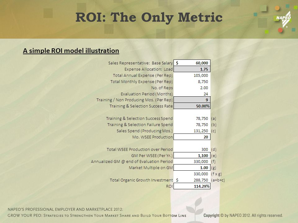 A simple ROI model illustration