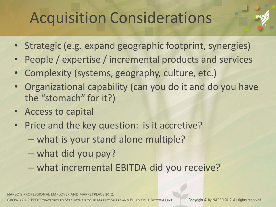 Acquisition Considerations Strategic (e.g.