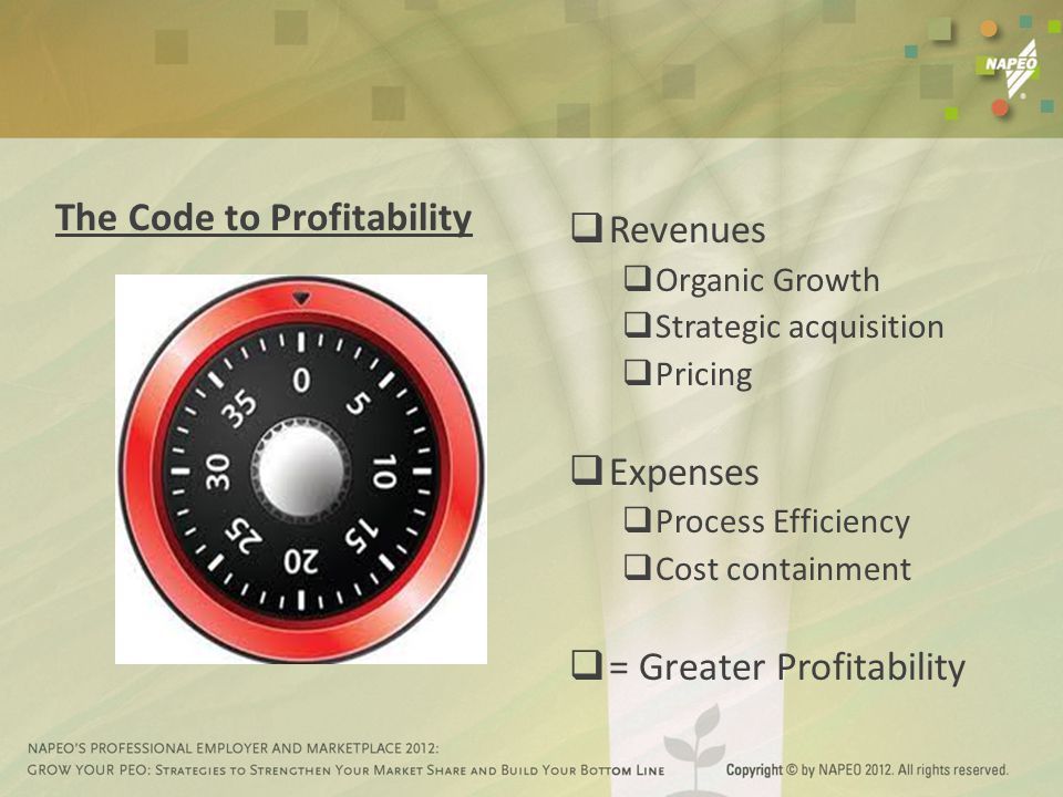 The Code to Profitability  Revenues  Organic Growth  Strategic acquisition  Pricing  Expenses  Process Efficiency  Cost containment  = Greater Profitability