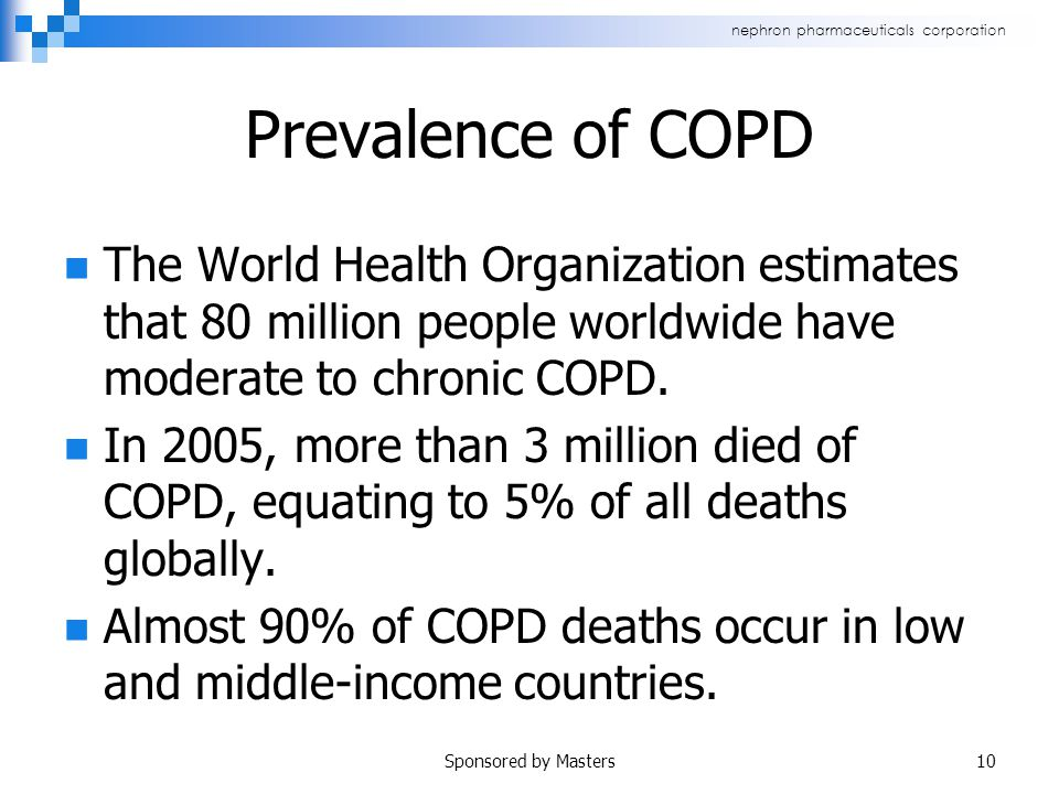 nephron pharmaceuticals corporation Prevalence of COPD The World Health Organization estimates that 80 million people worldwide have moderate to chronic COPD.