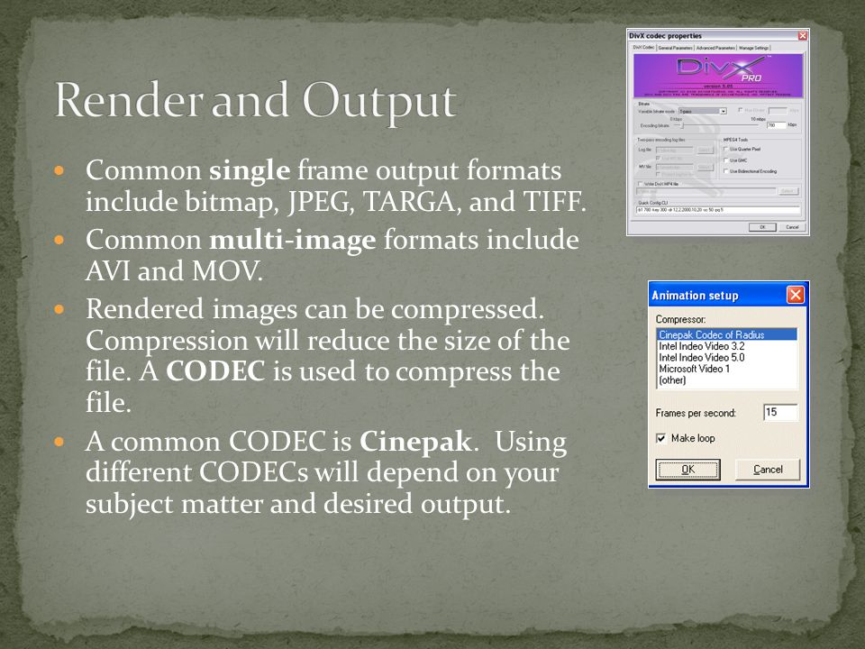 Common single frame output formats include bitmap, JPEG, TARGA, and TIFF.