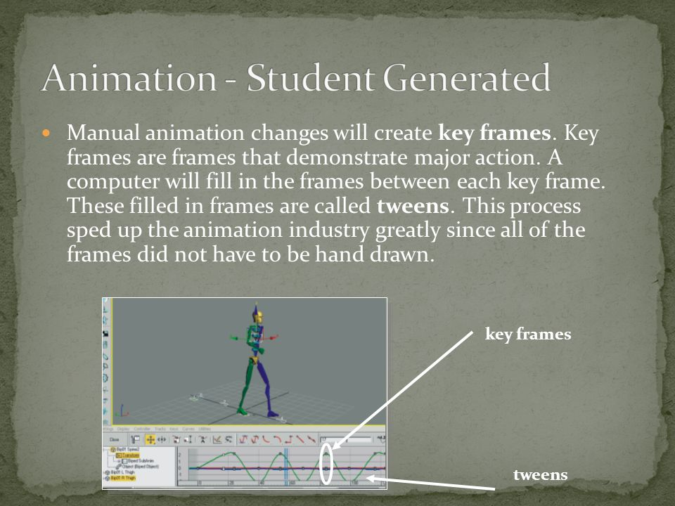 Manual animation changes will create key frames.