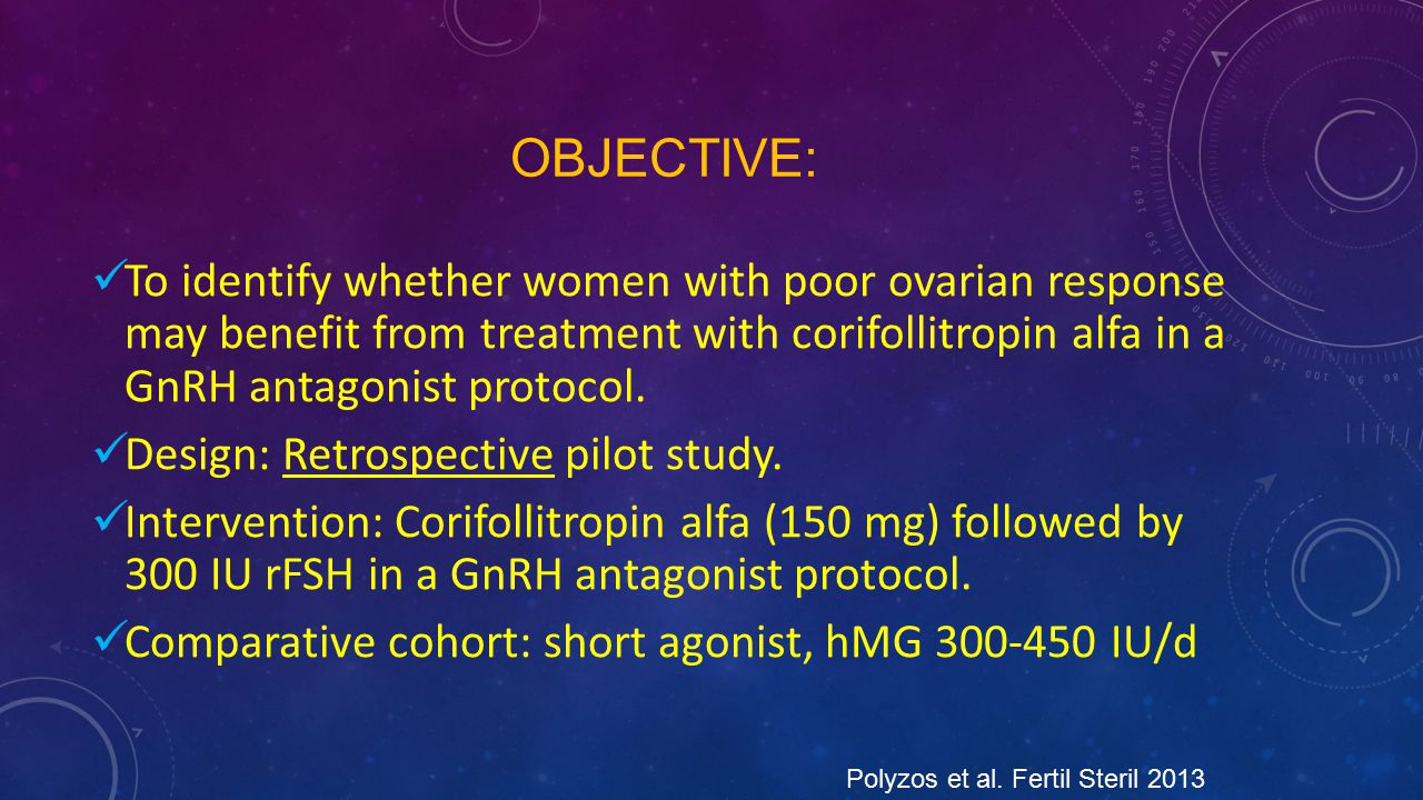 OBJECTIVE: To identify whether women with poor ovarian response may benefit from treatment with corifollitropin alfa in a GnRH antagonist protocol. De