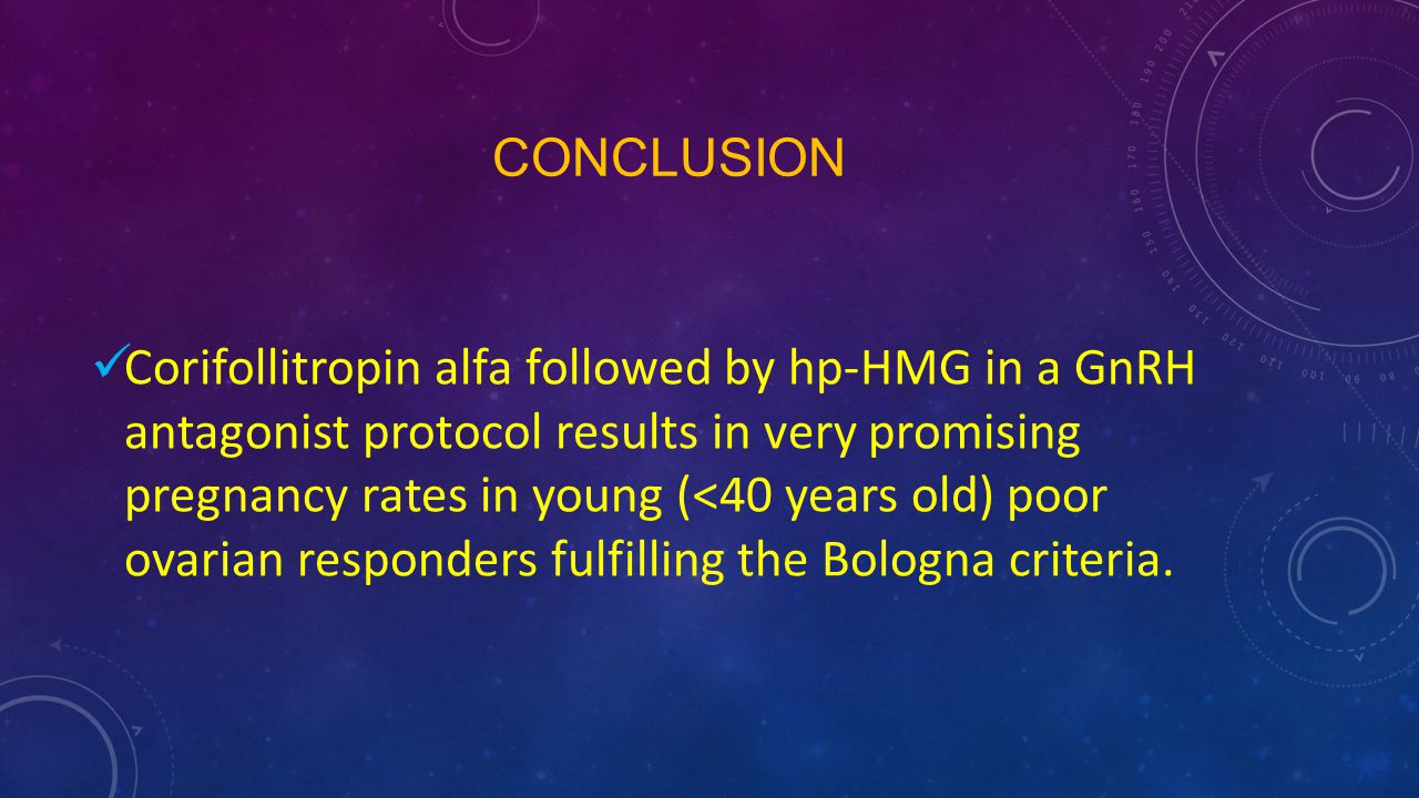 CONCLUSION Corifollitropin alfa followed by hp-HMG in a GnRH antagonist protocol results in very promising pregnancy rates in young (<40 years old) po