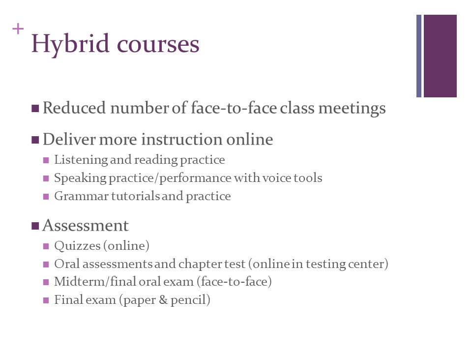 + Hybrid courses Reduced number of face-to-face class meetings Deliver more instruction online Listening and reading practice Speaking practice/performance with voice tools Grammar tutorials and practice Assessment Quizzes (online) Oral assessments and chapter test (online in testing center) Midterm/final oral exam (face-to-face) Final exam (paper & pencil)