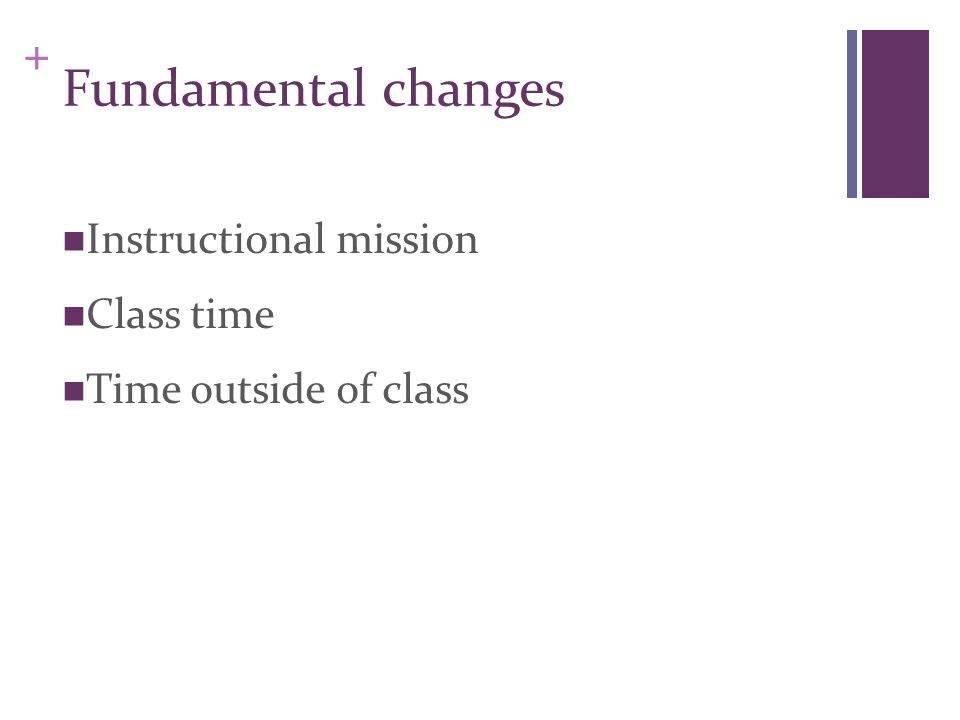 + Instructional mission Class time Time outside of class Fundamental changes