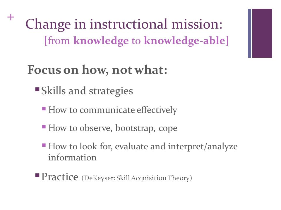 + Change in instructional mission: [from knowledge to knowledge-able] Focus on how, not what:  Skills and strategies  How to communicate effectively  How to observe, bootstrap, cope  How to look for, evaluate and interpret/analyze information  Practice (DeKeyser: Skill Acquisition Theory)