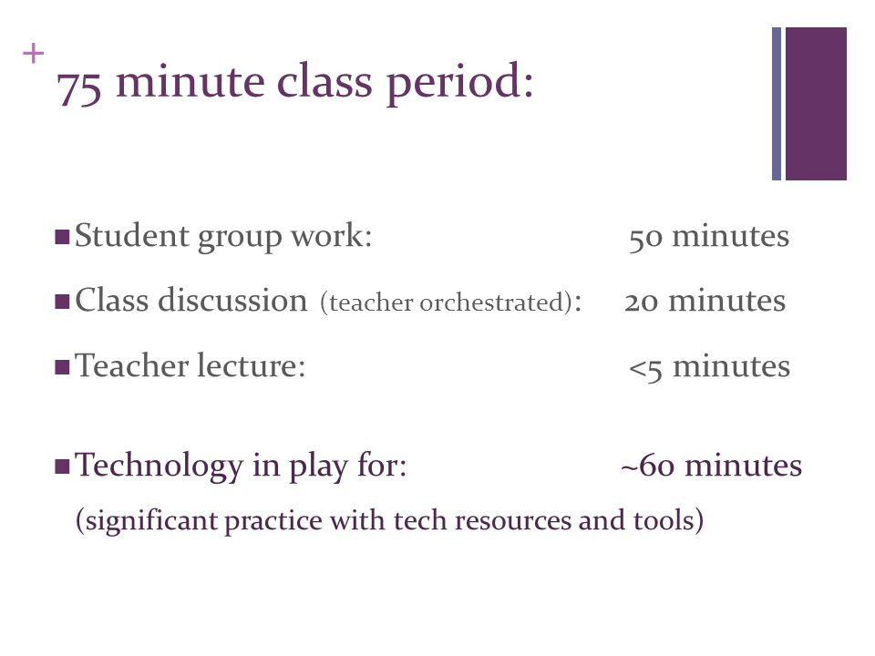 + 75 minute class period: Student group work: 50 minutes Class discussion (teacher orchestrated) : 20 minutes Teacher lecture: <5 minutes Technology in play for: ~60 minutes (significant practice with tech resources and tools)