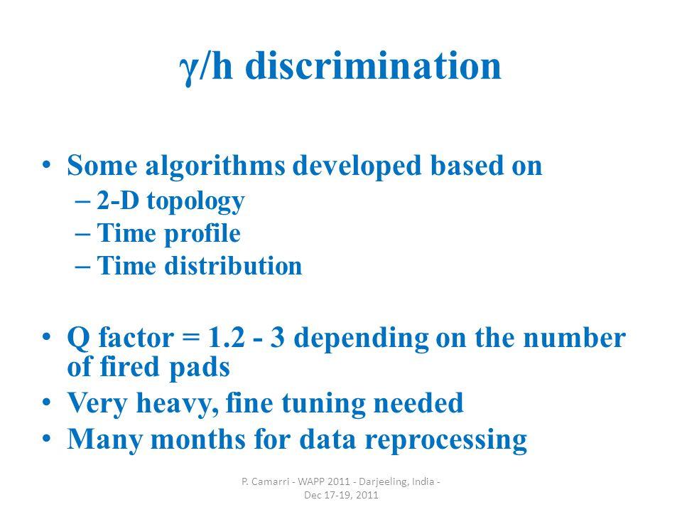 γ/h discrimination Some algorithms developed based on – 2-D topology – Time profile – Time distribution Q factor = 1.2 - 3 depending on the number of fired pads Very heavy, fine tuning needed Many months for data reprocessing P.