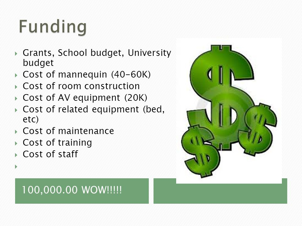 100,000.00 WOW!!!!!  Grants, School budget, University budget  Cost of mannequin (40-60K)  Cost of room construction  Cost of AV equipment (20K) 