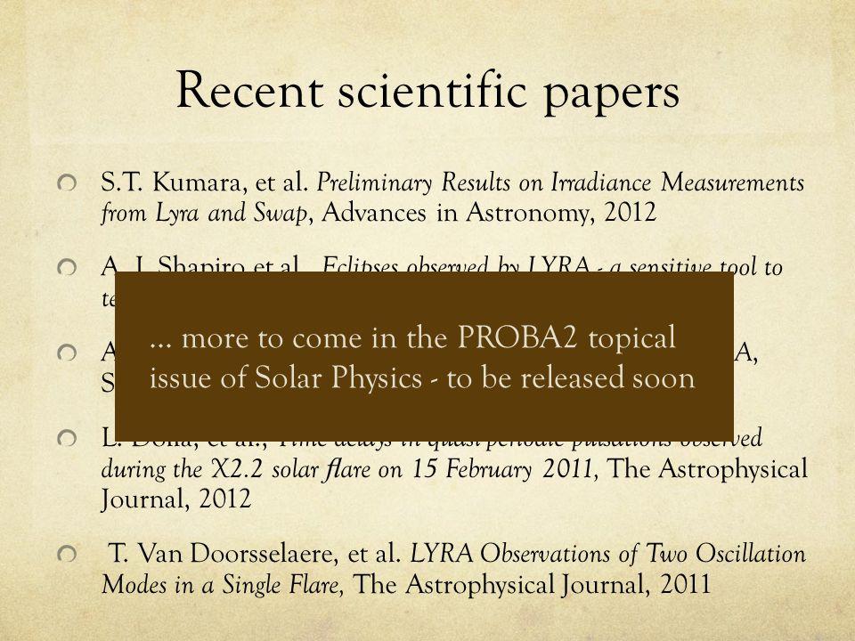 Recent scientific papers S.T. Kumara, et al.