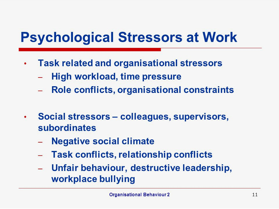 11 Psychological Stressors at Work Task related and organisational stressors – High workload, time pressure – Role conflicts, organisational constraints Social stressors – colleagues, supervisors, subordinates – Negative social climate – Task conflicts, relationship conflicts – Unfair behaviour, destructive leadership, workplace bullying Organisational Behaviour 2