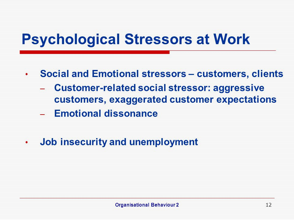 12 Psychological Stressors at Work Social and Emotional stressors – customers, clients – Customer-related social stressor: aggressive customers, exaggerated customer expectations – Emotional dissonance Job insecurity and unemployment Organisational Behaviour 2