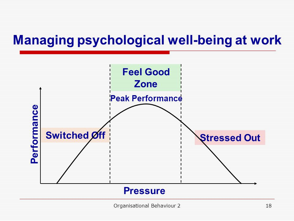 Managing psychological well-being at work Organisational Behaviour 218 Performance Pressure Stressed Out Switched Off Feel Good Zone Peak Performance