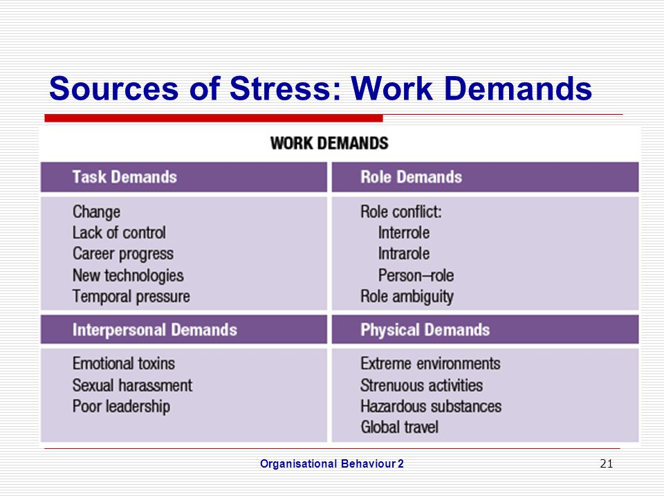 21 Sources of Stress: Work Demands Organisational Behaviour 2