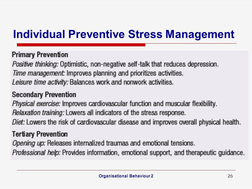 26 Individual Preventive Stress Management Organisational Behaviour 2
