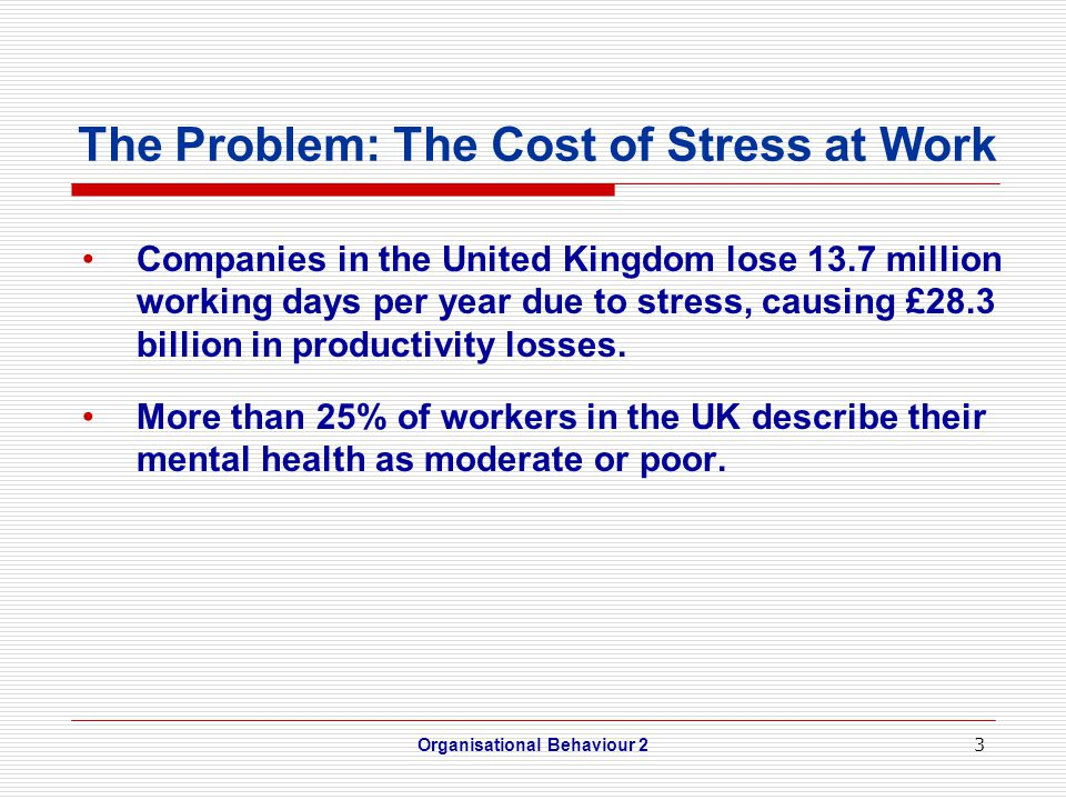 3 The Problem: The Cost of Stress at Work Companies in the United Kingdom lose 13.7 million working days per year due to stress, causing £28.3 billion in productivity losses.
