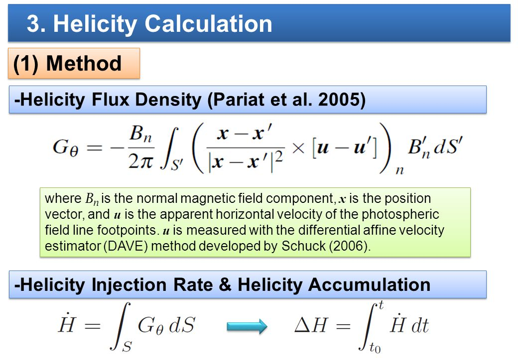 (1) Method -Helicity Flux Density (Pariat et al.