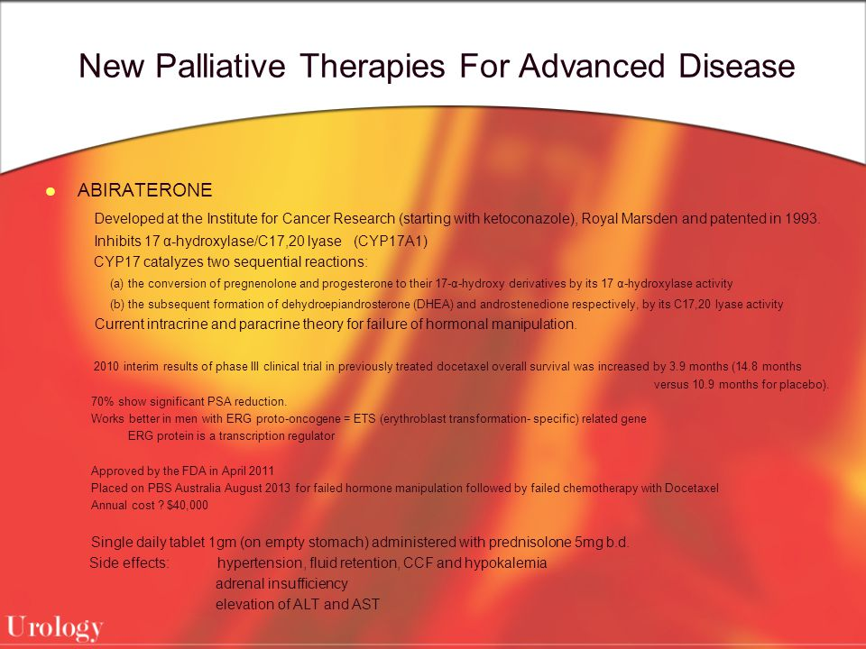 New Palliative Therapies For Advanced Disease ABIRATERONE Developed at the Institute for Cancer Research (starting with ketoconazole), Royal Marsden and patented in 1993.