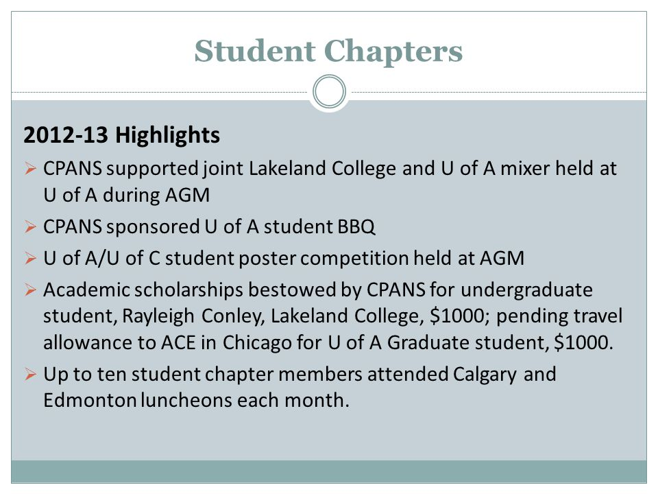 Student Chapters 2012-13 Highlights  CPANS supported joint Lakeland College and U of A mixer held at U of A during AGM  CPANS sponsored U of A student BBQ  U of A/U of C student poster competition held at AGM  Academic scholarships bestowed by CPANS for undergraduate student, Rayleigh Conley, Lakeland College, $1000; pending travel allowance to ACE in Chicago for U of A Graduate student, $1000.