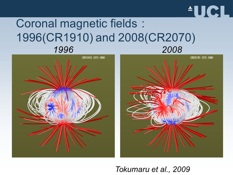 Coronal magnetic fields : 1996(CR1910) and 2008(CR2070) Tokumaru et al., 2009 19962008