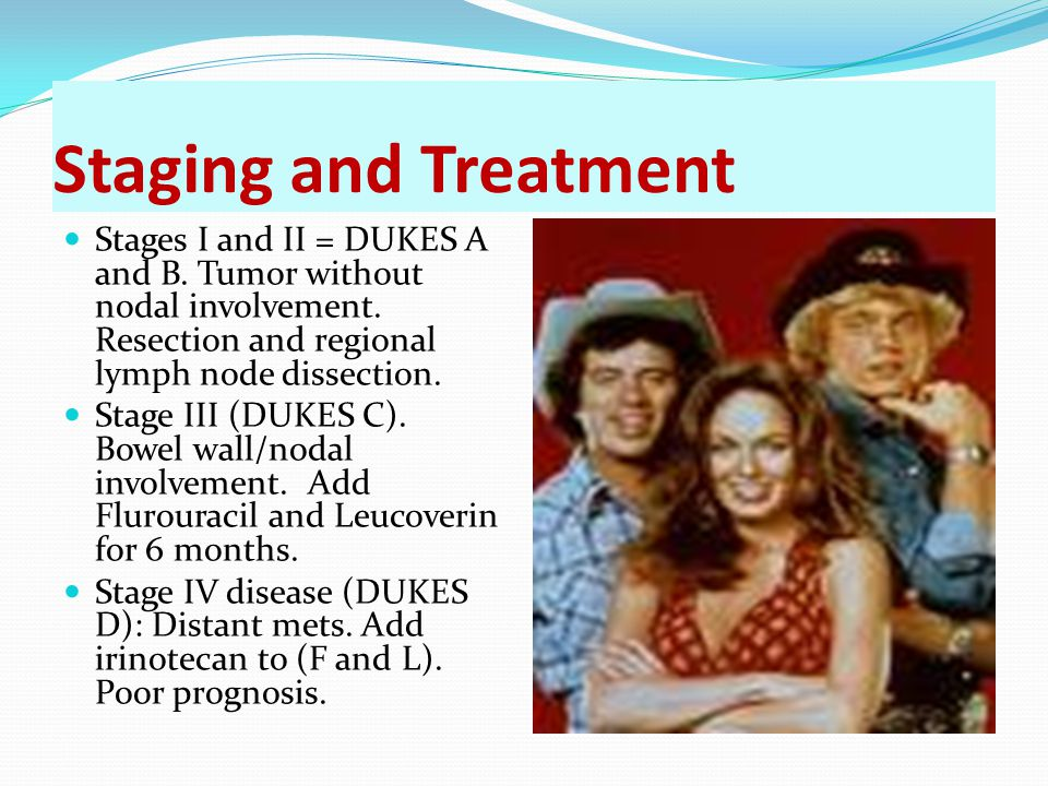 Staging and Treatment Stages I and II = DUKES A and B. Tumor without nodal involvement. Resection and regional lymph node dissection. Stage III (DUKES