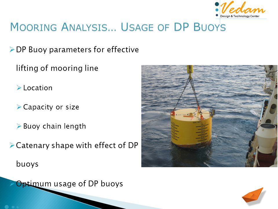 Design & Technology Center Vedam  DP Buoy parameters for effective lifting of mooring line  Location  Capacity or size  Buoy chain length  Catenary shape with effect of DP buoys  Optimum usage of DP buoys