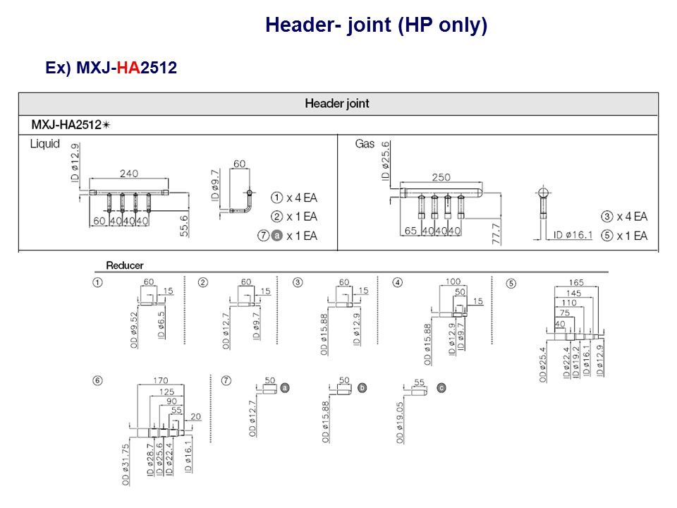 Header- joint (HP only) Ex) MXJ-HA2512