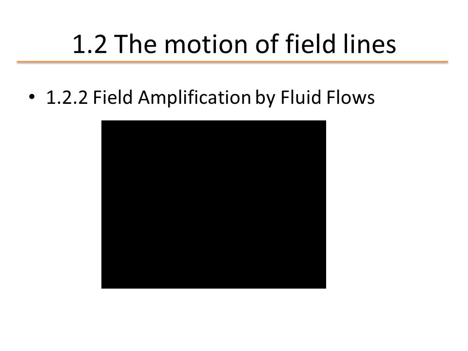 1.2.2 Field Amplification by Fluid Flows 1.2 The motion of field lines