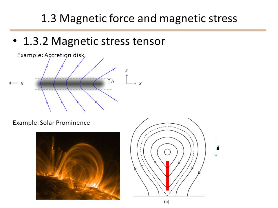 1.3 Magnetic force and magnetic stress 1.3.2 Magnetic stress tensor Example: Accretion disk Example: Solar Prominence g